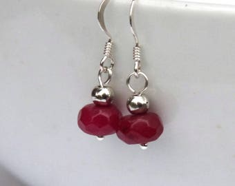 Ruby earrings, Gemstone earrings, Ruby jewelry, gemstone jewelry, sterling silver, silver earrings, July birthstone, birthday gift, women