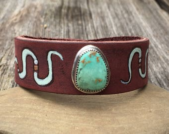 Distressed Turquoise Leather & Sterling . Painted Snake . Boho. South Western Design. Cowgirl . Bracelet. Boho . By Nin and Bumm