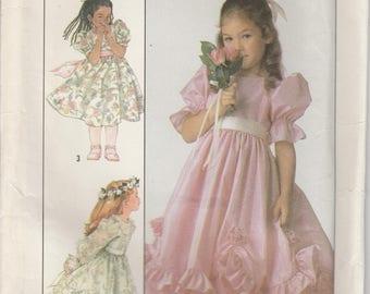 Flower Girl Dress Pattern Ruffle Overskirt Fabric Roses Girls Size 6 Uncut Simplicity 8987