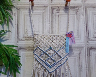 Macrame string  tassel/beaded shoulder bag