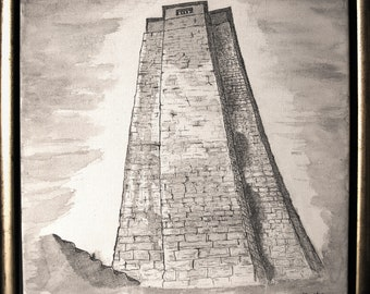 Sarrazin Tower, India ink drawing on canvas by Em'Art