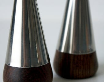 Danish Rosewood and Steel, Salt and Pepper Shakers, Mid-Century Vintage
