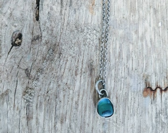 Tiny Memorial Seaglass Necklace- Multi colored blue seaglass urn from Northern England