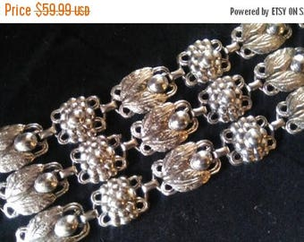 ON SALE Vintage  Wide Silertone Bracelet, 1960's Collectible Costume Jewelry, 1950's Mid Century Jewelry