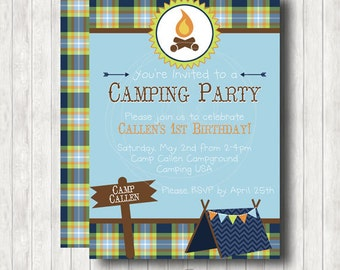 Camping Birthday Printable Invitation with optional Party Packages