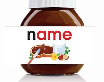 Personalised Original Name Theme Label for 750g Nutella Jar!