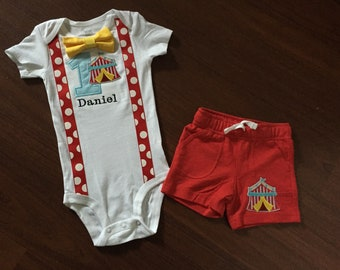 SALE!! Circus Embroidered First birthday, Boys birthday outfit, Baby boy first birthday, Circus party theme