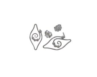 Dew Drop Tendril Leaf Stud Post Earrings