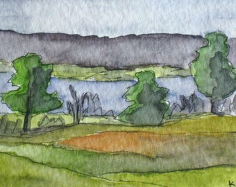 "Miniature Pen Ink Contemporary Landscape Painting Original Watercolor Pen Ink Kathleen Daughan ""The Meadow"" ACEO Art Artist Trading Card."