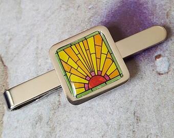 Art Deco Sunrise Tie Clip