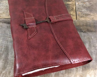 Red Leather Journal with Key - LG