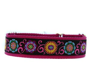 Wide 1 1/2 inch Adjustable Buckle or Martingale Dog Collar in Wild Child