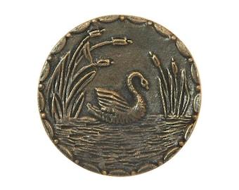 Swan 1.25 inch ( 33 mm ) Susan Clarke Metal Button Antique Brass Color