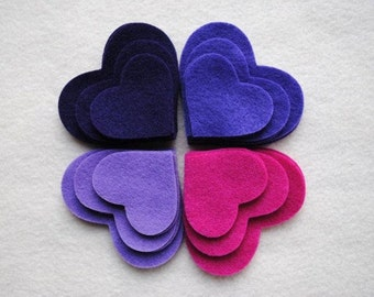 36 Piece Die Cut Felt Hearts, Purples