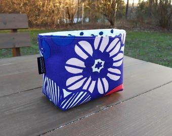 Blue floral fabric basket organizer from Marimekko fabric , Storage bin container, baby room decor, Scandinavian design