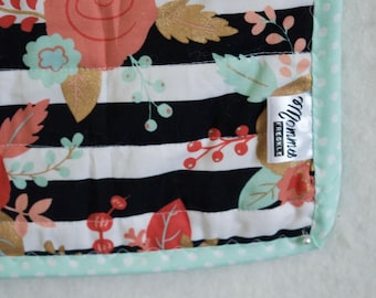 Floral and Stripes Baby/Toddler Car Seat Quilt