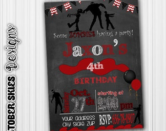 Zombie Birthday Invitation, Halloween Party, Announcement, Milestone, Custom, Digital, any age