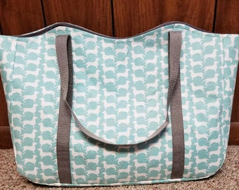 Tote Dachshunds White on Aqua