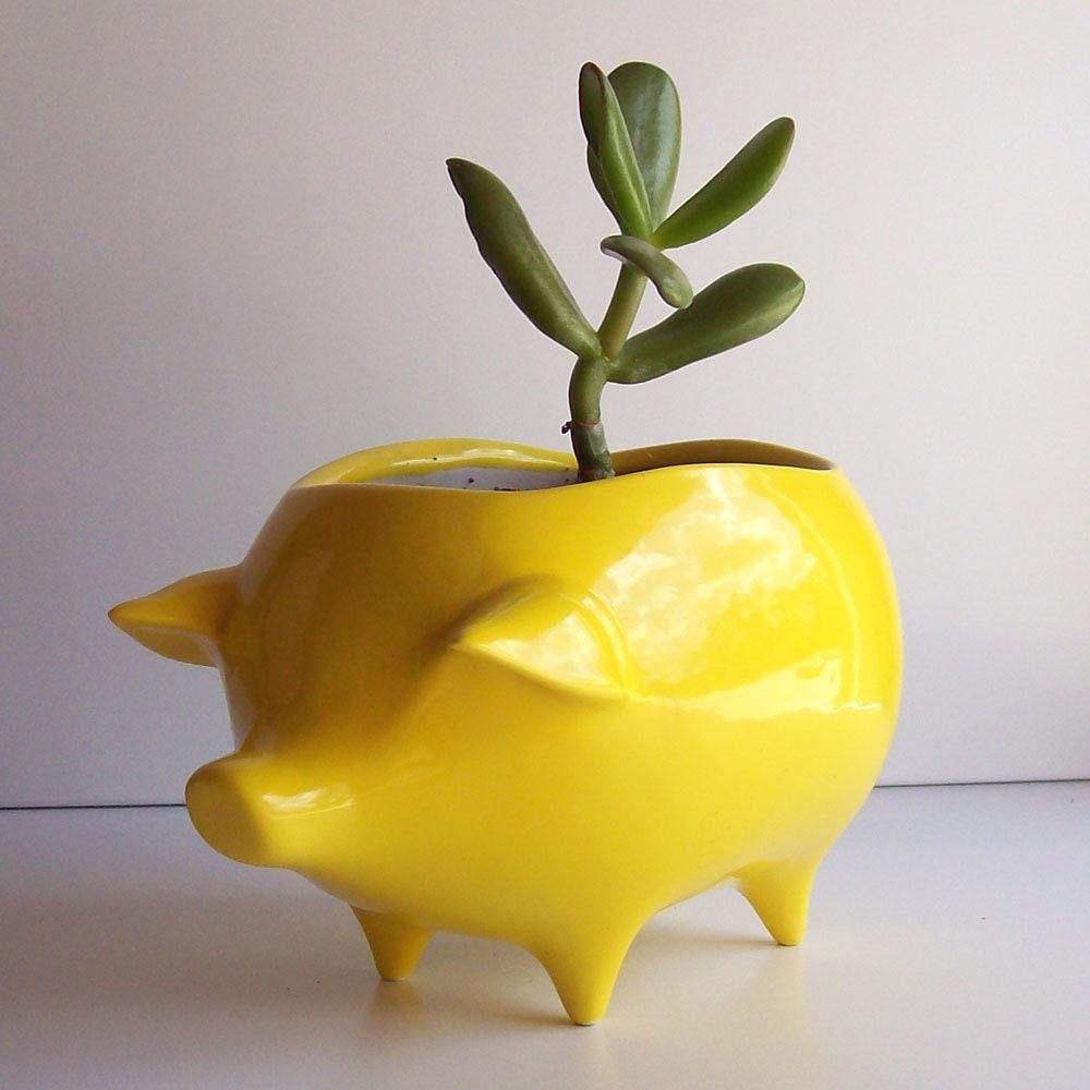Pig Planter Succulent Planter Ceramic Planter Vintage Design Lemon Yellow, Retro, Sponge Holder Kitchen Home Decor Garden Cactus pot