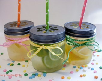 SALE 20% - 40 Mini Plastic Mason 8 oz Jars with Daisy Cut Lid - Unbreakable Drinking Jar Parties
