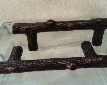 New set 6 Dark Bronze Copper TREE BRANCH Handles XXX Large 5 inch Knobs Pulls Faux Wood Look