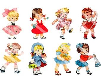 Retro Little Girls Having Fun Digital Tags, Scrapbooking, Cards, Mini Albums, Journaling Notes YOU PRINT