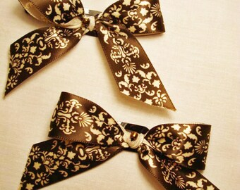 Brown Victorian Ribbon Bow Barrettes