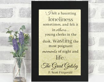The Great Gatsby Print - 'Loneliness' Typography - Literary Gift