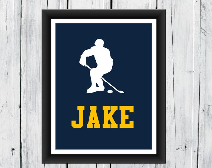 Sports SILHOUETTE  Print -   Personalized  - Pick your sport - Ice Hockey  Print