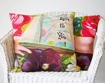 Floral Loved One Pillow, Love Print Pillow Case, Travel Themed Nursery, I Love You Pillow Sham, Quote Pillow Covers,  Unique Boating Gifts