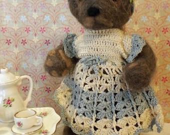 Vintage Antique Miniature Needle Felted Bear Olive w Tea Set OOaK Folk Art Wool