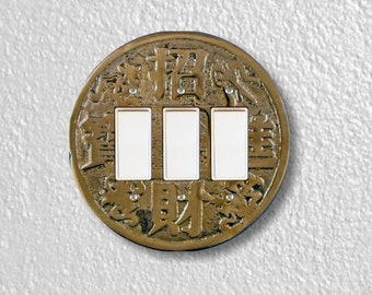 Chinese Fortune Coin Round Triple Decora Rocker Switch Plate Cover