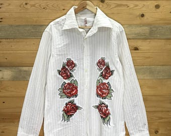 Rare! Vintage Replay Roses Design Embroidery Button Down Size M