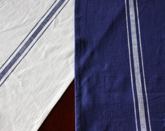 Striped Cotton Table Runner -  French Grainsack Style Runner - Cream With Blue or Blue with White