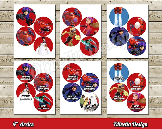 Big Hero 6 4 Birthday Party Circles Cupcake Toppers 24