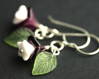 Purple Flower Earrings. Purple Earrings. White and Purple Floral Earrings with Green Leaves. Silver Dangle Earrings. Handmade Earrings.