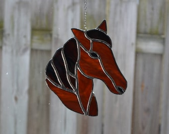 Stained Glass Brown Horse suncatcher