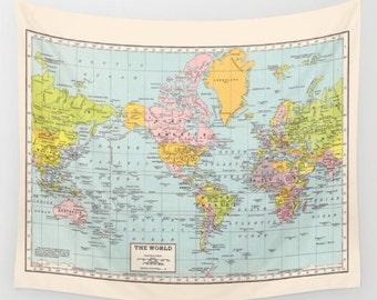 World Map Wall Tapestry - dorm room decor-  vintage map, travel decor, wall decor atlas, den, bedroom, college dorm room popular