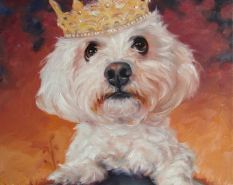 Shih Tzu Heaven, Original Art oil painting, custom Pet Portrait paintings in oils by puci, 10x2 inches