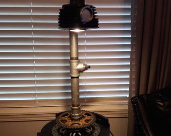 Motorcycle parts and pipe lamp. Steampunk