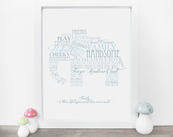 Elephant Nursery Decor - Baby Boy Gift - Christening Gift - Baby Shower Gift - Personalised Elephant Print - New Baby Gift - Naming Day Gift
