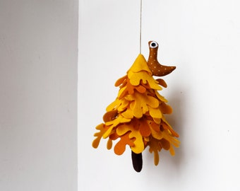 Yellow Tree with owl, Ornament to hang, Miniature felt fir tree , Decorative gift