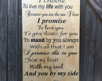 Wood Anniversary Gift for Him Wooden Anniversary Gift Personalized Wedding Vows Wood Sign Fifth Anniversary Gift 5th Anniversary Gift Custom