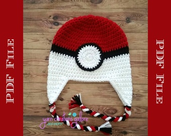 Crochet PokeyBall Hat Pattern ** PDF File ONLY*** Instant Download