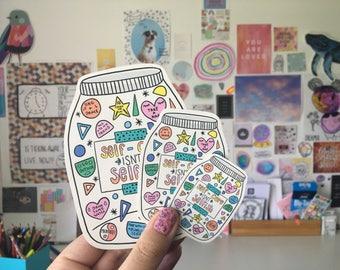 Self-Care Jar Glossy Sticker Set
