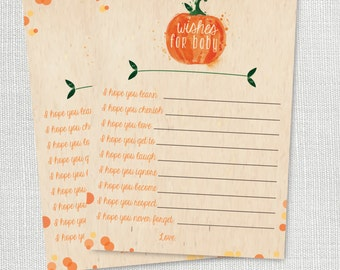 lil pumpkin Wishes For Baby shower game - little pumpkin wishes for baby advice card - instant download