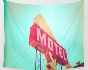 California Retro Motel Wall Tapestry, Desert Motel Wall Art, Photo Tapestry, Living Room Wall Art, Motel Sign, California, Dorm