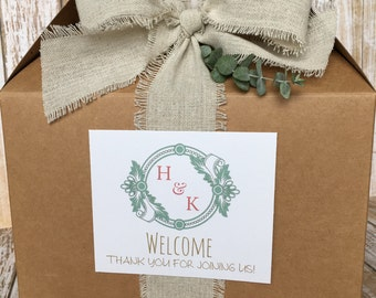 6 ~ Wedding Welcome Boxes, Out of Town Wedding Guest Box, Welcome to Our Wedding Box