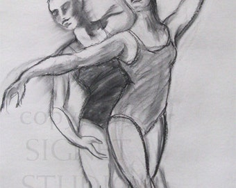 Dance Movement, original charcoal drawing, ballet, performing arts