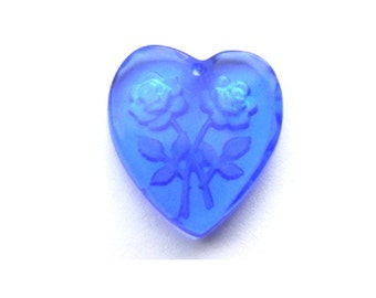 2 Vintage glass beads heart shape etched rose flowers, dark blue shade, can be pendant 19mmx18mm